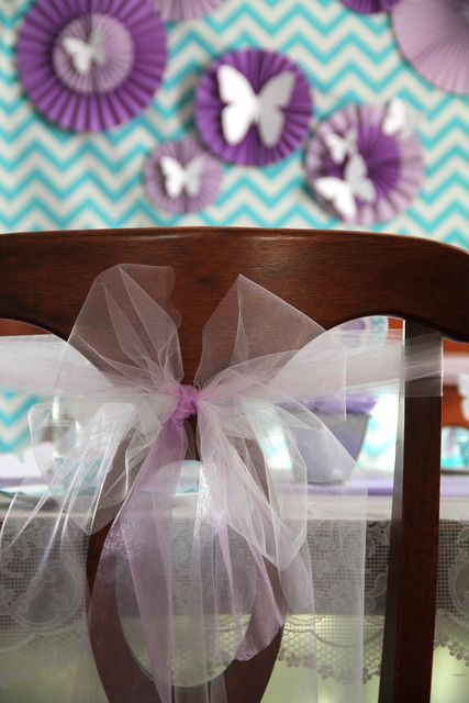 Tulle bow chair accents