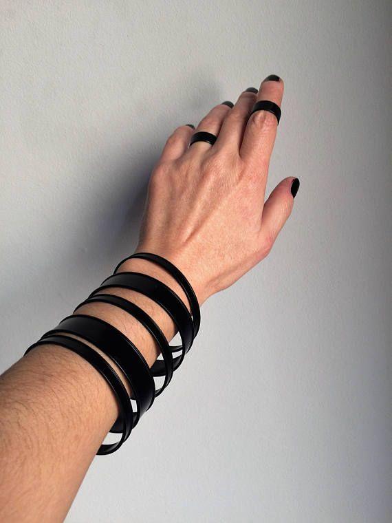 Womens Black Cuff BraceletBlack Bracelet BangleChannel Cuff