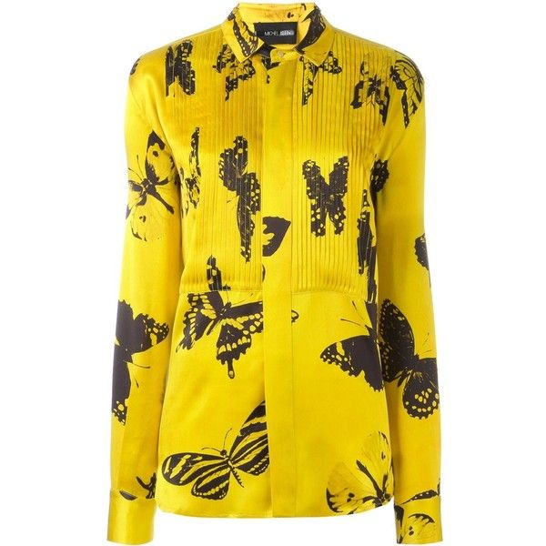 Michel Klein 'butterfly' print shirt ($242) ❤ liked on Polyvore featuring tops, butterfly print top, silk shirt, michel klein, yellow top and yellow shirt