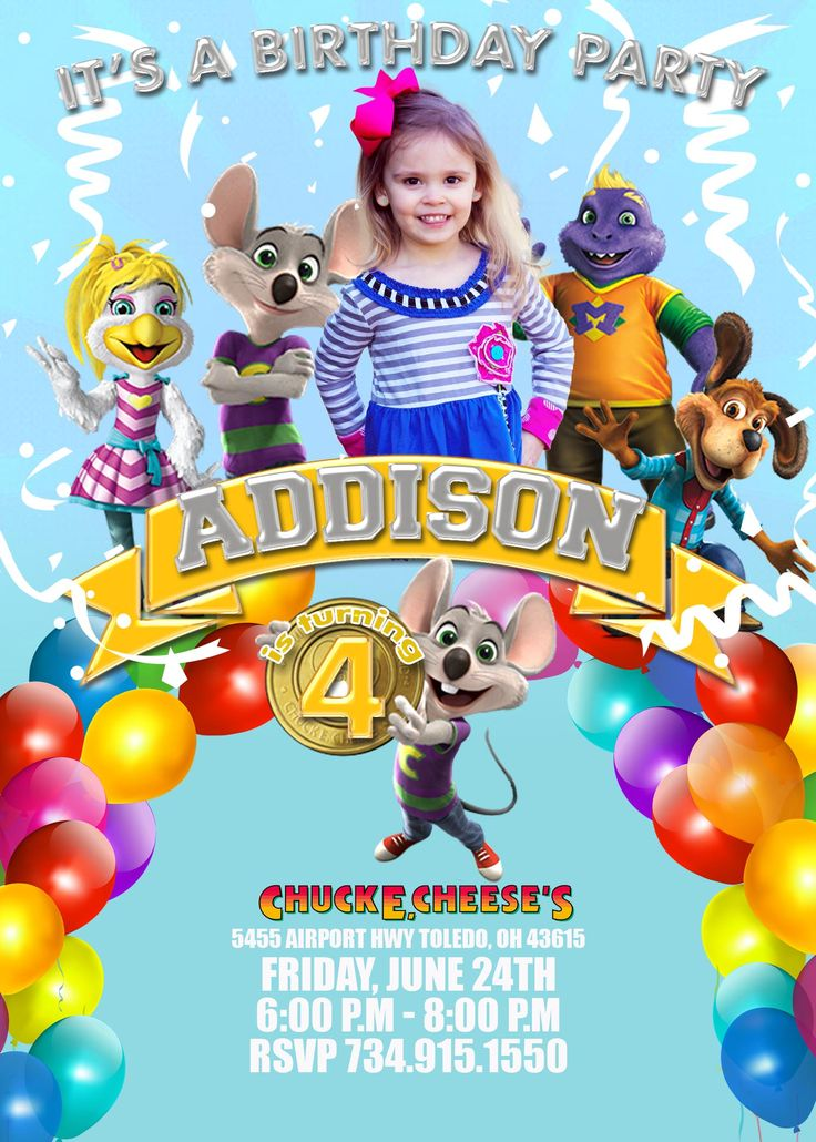 74 best chuck e cheese birthday party images on pinterest | chuck, Birthday invitations