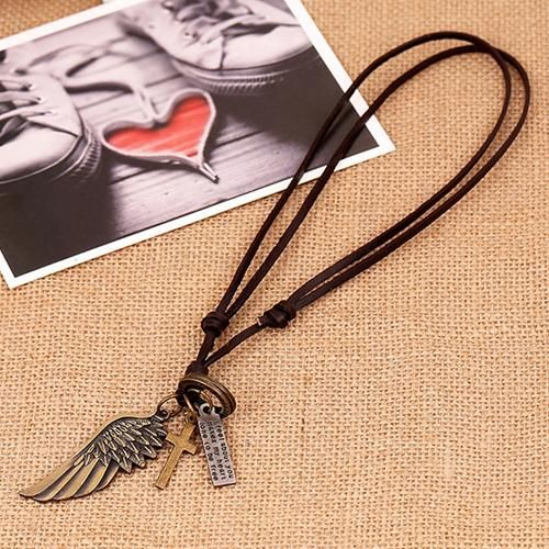 2015 hot sell Vintage Angel Wing Mens Leather Antique Necklace Charms Pendants 56ZE