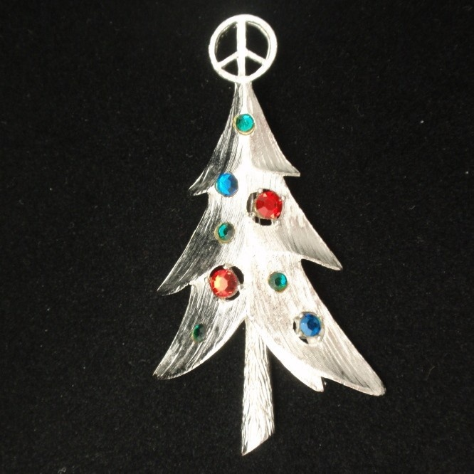 Christmas Xmas Tree Pin Vintage Rhinestones Silvertone Peace Sign Topper MV 60sVintage Rhinestone