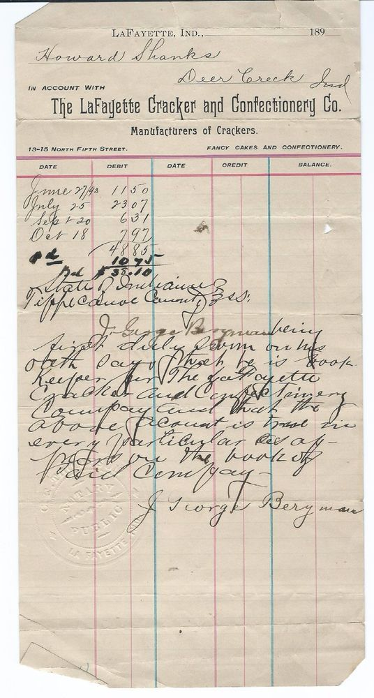 SOLD on ebay. 1890 Legal Letter The LaFayette Cracker and Confectionery Co., LaFayette Indiana