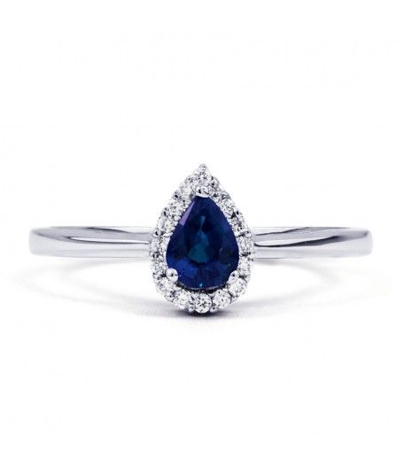 Aya 18ct White Gold Blue Sapphire Teardrop Ring