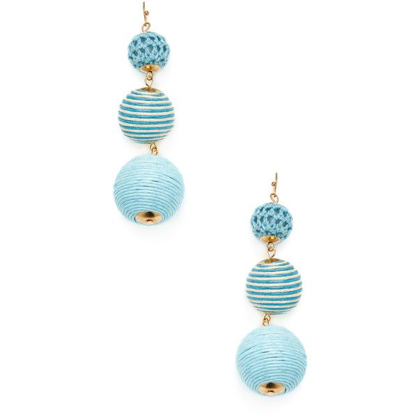 Shashi Women's Sadie Striped Drop Earrings - Blue (€16) ❤ liked on Polyvore featuring jewelry, earrings, blue, fishhook earrings, fish hook jewelry, fish hook earrings, drop earrings and blue jewellery