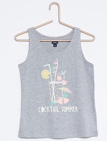 Camiseta estampada de algodón sin mangas                                                                                                                                                                                                 gris claro Chica