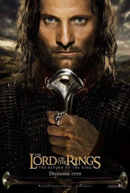 The Lord of the Rings: The Return of the King movie poster with Elijah Wood, Elijah Wood, Ian McKellen,  Orlando Bloom, Sean Bean, Cate Blanchett, Sean Astin, Christopher Lee, Viggo Mortensen, Liv Tyler, and Hugo Weaving.