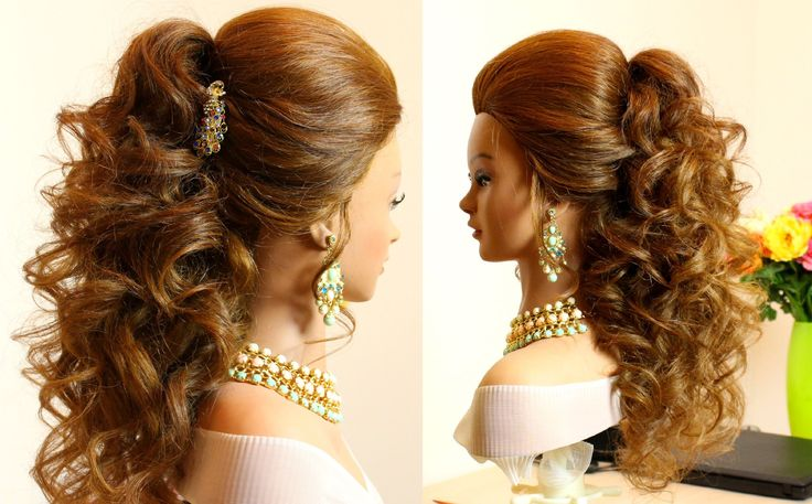Prom bridal curly hairstyle for long  hair tutorial