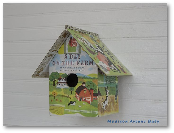 Birdhouse made from childrens books!  Neat idea!