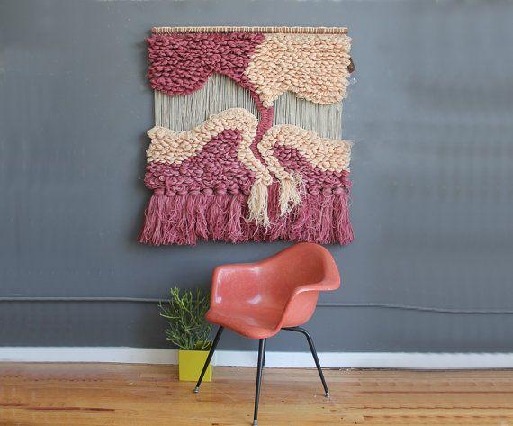Amazing Large Fiber Textile Art Wall Hanging
