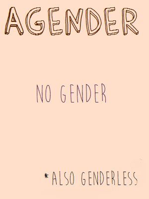 """""""Agender: no gender *Also genderless""""  [follow this link to find a short video and analysis of the gender binary: http://www.thesociologicalcinema.com/1/post/2013/11/gender-binary-gender-baggage.html]  Artist: Penicillium Pusher (http://penicillium-pusher.tumblr.com/post/85773549279/gender-posters-1-2)"""