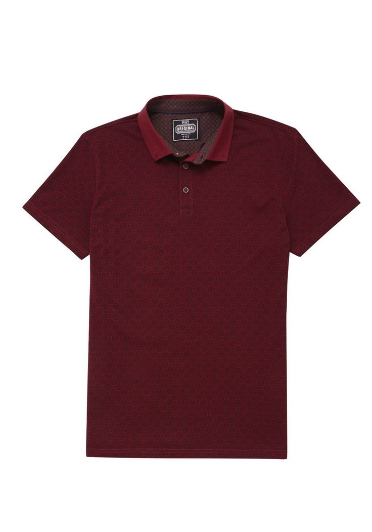 <li><p>A stylish update of a classic, this polo shirt features an on-trend tile print. A great casual look for the new season, the polo shirt features a contrasting plain button-down collar.</p><p>Three button fastening</p><p>Short sleeves</p></li>