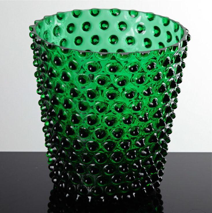Glasvase Glas Vase grün Noppen Nuppen Böhmen großes Windlicht Tulpenvase Warzen
