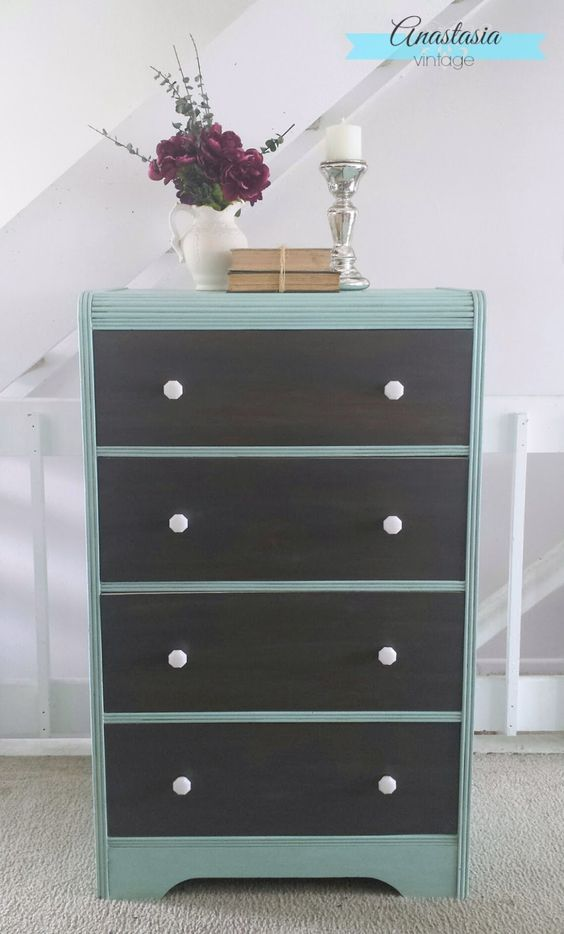 Mint Green & Driftwood Grey Dresser | Anastasia Vintage