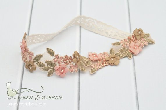 Luxe Halo Headband - Pink Pearl Flower - Khloe - Infant Newborn Baby Girl Halo Headband on Etsy, $16.00