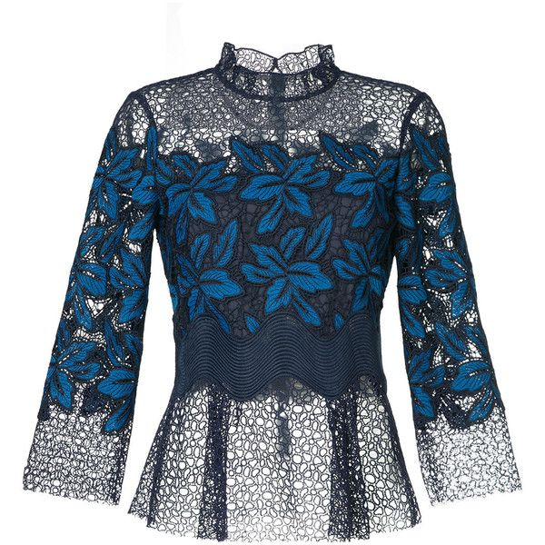 Sea Mosaic Lace Blouse 432 Liked On Polyvore Featuring Tops Blouses Blue Floral Print Blouse Long Lace Blue Lace Shirt Blue Lace Top Blue Floral Shirt
