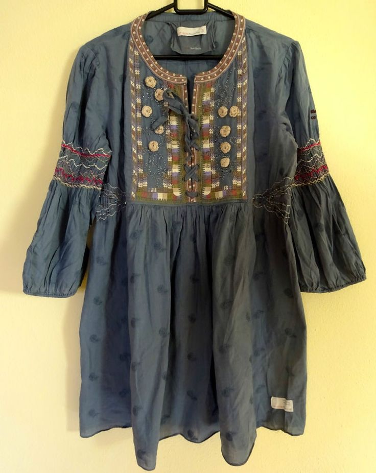 Odd Molly 606 Tunic Dress Embroided Size 3 L Blue Boho Hippie 3/4 sleeve