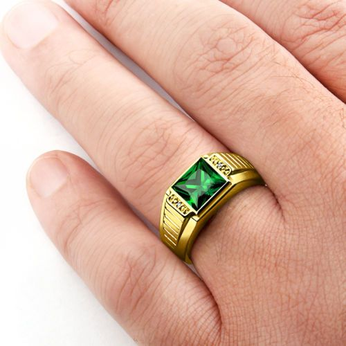 Men's 14K SOLID GOLD Ring Emerald and Natural Diamonds Mans Gemstone Ring #fathersday #fashion #sterlingring #ring #mensjewelry #mensfashion #epiconetsy #menstyle #giftforhim