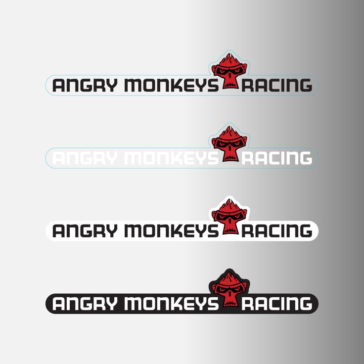 Angry Monkeys Racing Logo Decals w/ Team Name