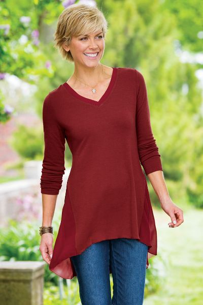 Chiffon godets make the Soft Sadie Sweater uniquely flattering in a fine jersey knit.