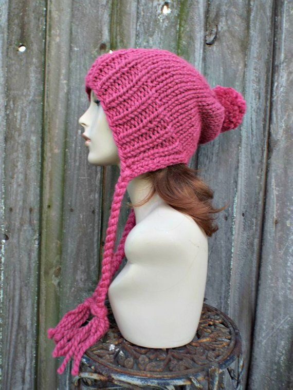5a978d39eef Raspberry Pink Slouchy Hat Chunky Knit Hat Womens Hat Pink Hat Pink Beanie  - Charlotte Slouchy