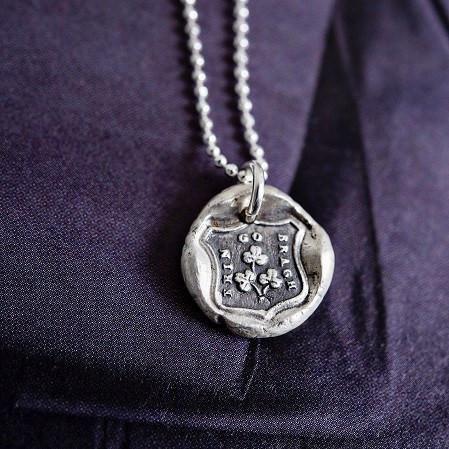 Erin Go Bragh Shamrock Wax Seal Necklace