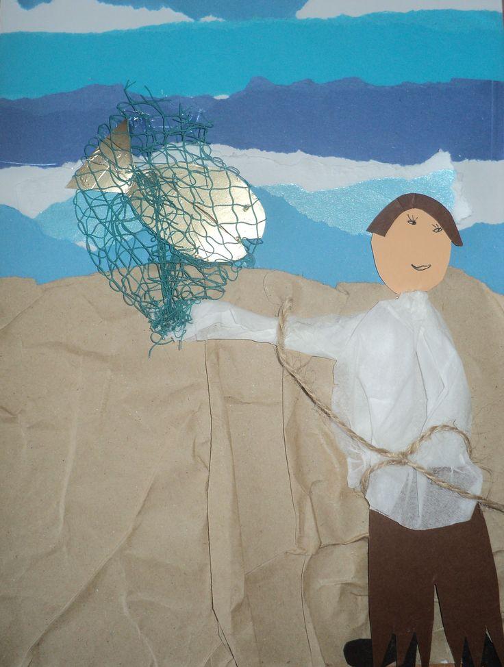 O rybáři a rybce - využití netradičních materiálů (papírový kapesník a sáček, zlatá folie, čeřenová síť)