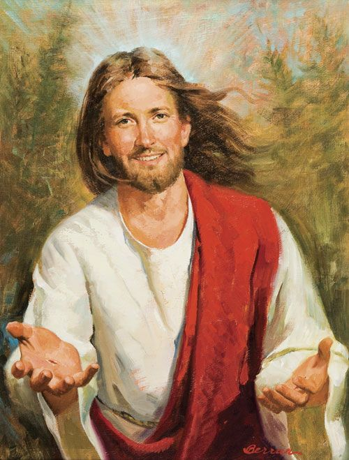 Picture of Jesus, by Bob Berran The first time I saw this picture of Jesus, it immediately struck me, because of the joy and life it radiates. I can imagine when Jesus Christ invited His disciples to follow Him, He didn't look as stern and boring as some paintings show Him.  Jesus Christ offers us abundant life.  'I came that they may have life and have it abundantly.'(John 10:10)  Visit the website of Bob Berran, to buy his art, for your home, church or office.