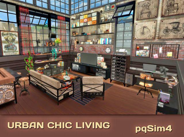 Urban chic living sims 4 custom content pqsim4 sims for Muebles urban chic