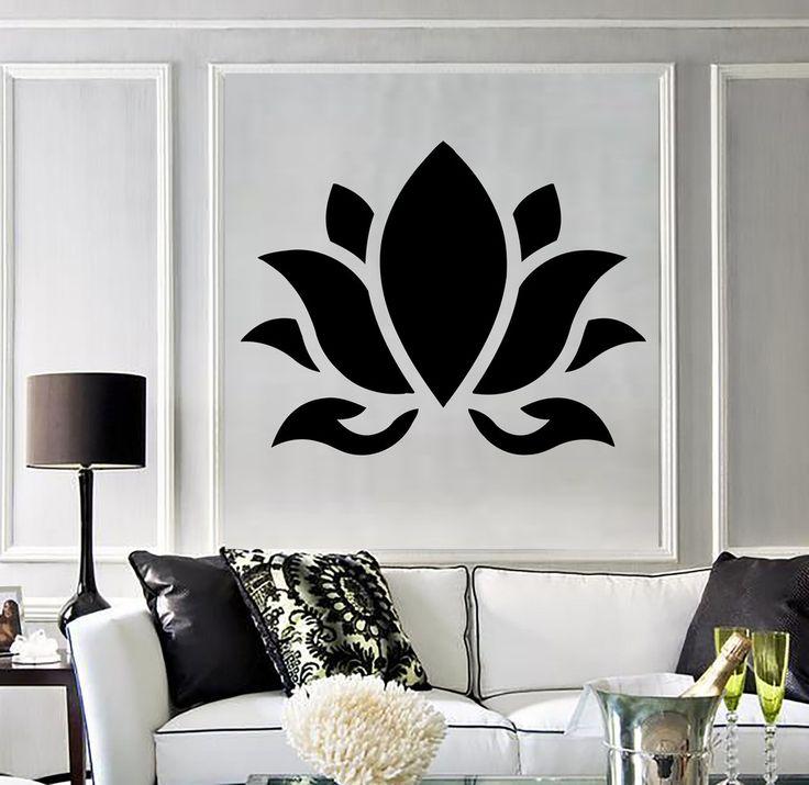 Vinyl Wall Decal Lotus Flower Buddhism Hinduism Yoga Stickers (394ig)