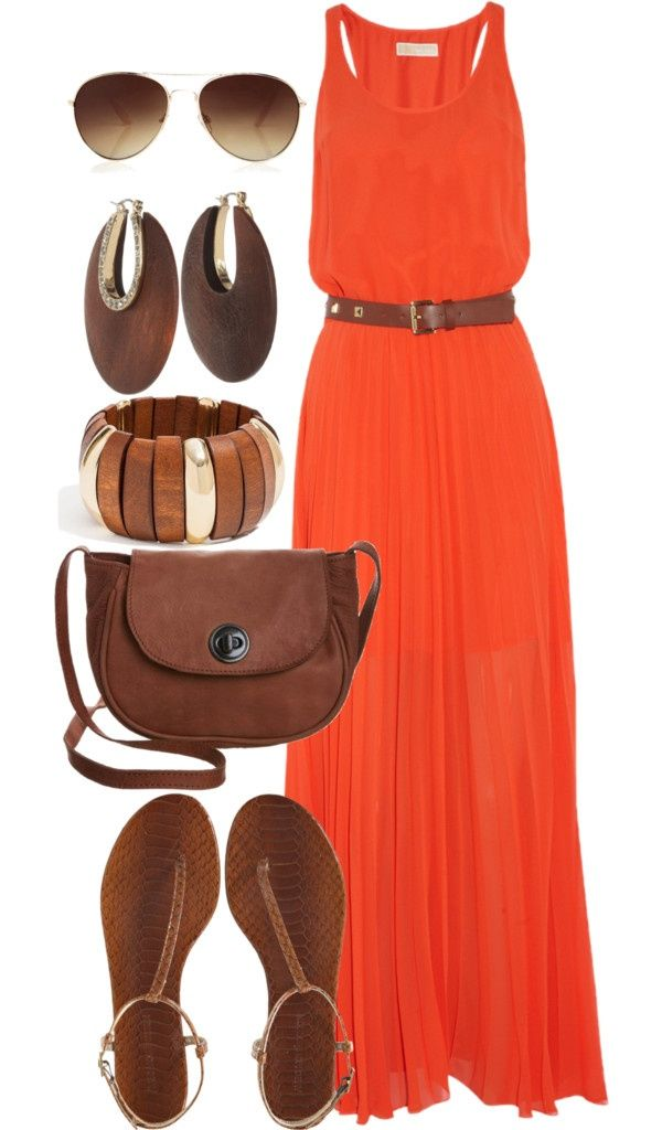 Orange maxi dress outfit. So pretty!
