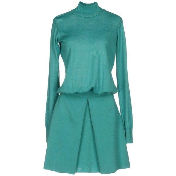 Blumarine Short Dress (3.455 RON) ❤ liked on Polyvore featuring dresses, light green, short blue dress, turtleneck dress, long-sleeve turtleneck dresses, blue mini dress and long sleeve turtleneck dress