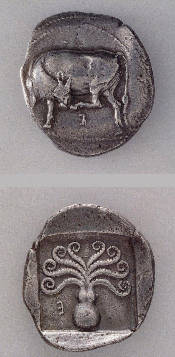 "*GREECE ~ Silver didrachm Eretria, p. 500-480 BC Obverse: Cow, symbol of the island of Evia. Reverse: Octopus (x 4).Athens Numismatic Museum Source: ""GREEK ART - ANCIENT COINS"" Mantis Economidou | Editorial Athens | 1996"