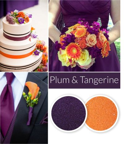 Fall Wedding Color Trend - Plum and tangerine wedding sand