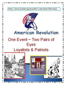 In this handout students will use information they learned regarding four major events of the American Revolution: Boston Tea Party, Boston Massacre, Intolerable Acts including Battles of Lexington and Concord   Students will look at these events from two viewpoints.