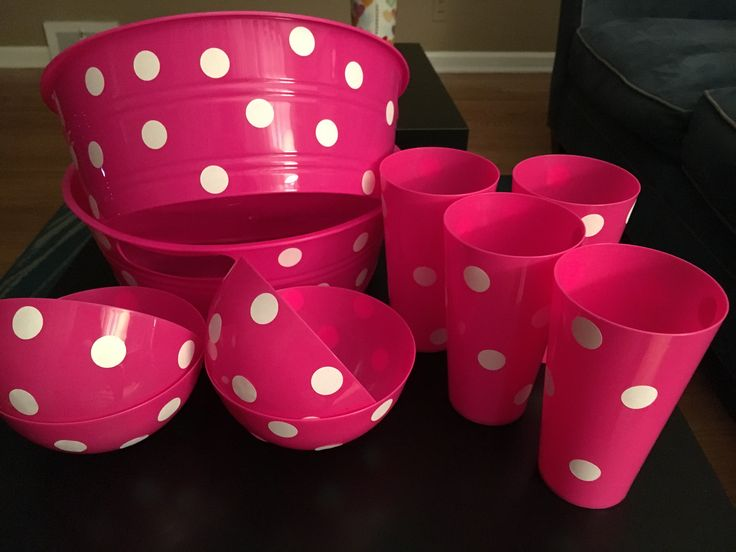 Minnie Mouse decorations. Pink polka dot party dishes. Purchased at dollar tree and added white stickers