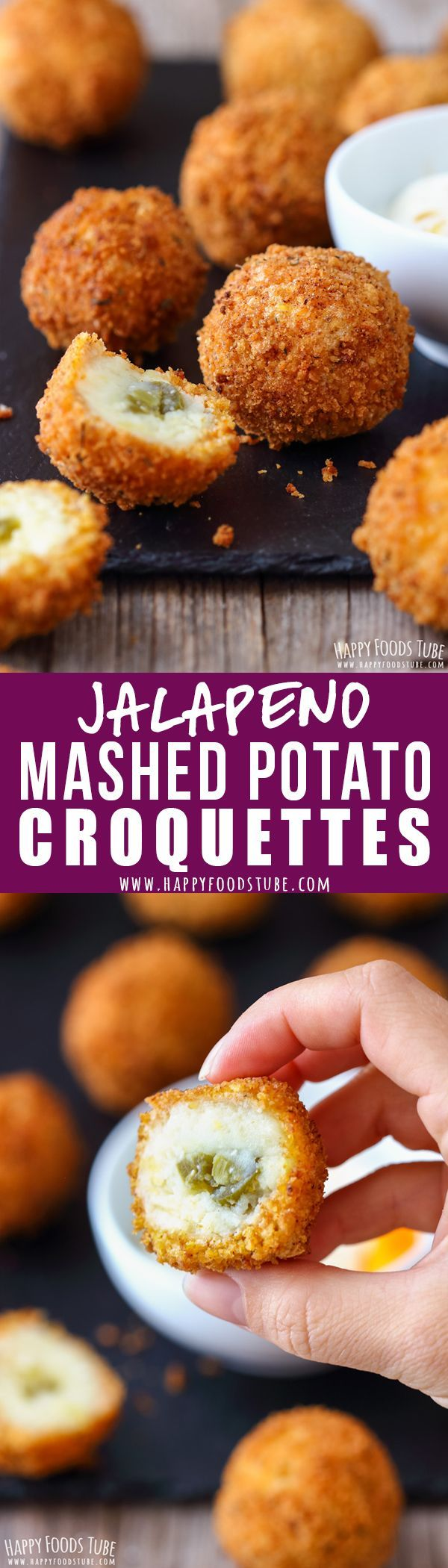 Homemade Mashed Potato Croquettes with Jalapeno Peppers. Great appetizer for any party. #mashedpotato #croquettes #appetizers #recipes #potato #homemade #partyfood #fingerfood #jalapeno #spicy #potatocroquettes #potatoballs @happyfoodstube