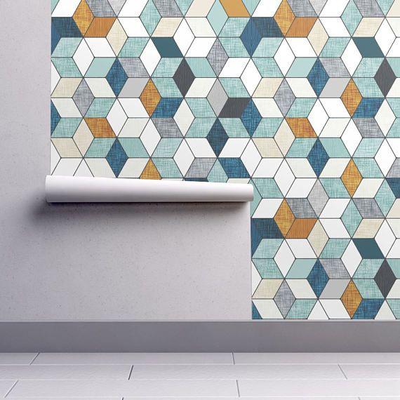 Maybe for the backsplash in that all white kitchen Modern Geometric Hexagon Wallpaper  Hexo By Nouveau Bohemian
