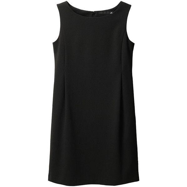 WOMEN Ponte Sleeveless Dress (1,075 PHP) ❤ liked on Polyvore featuring dresses, tops, vestidos, black, women, uniqlo dresses, ponte dress, black ponte dress, ponte knit dress i no sleeve dress