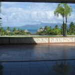 Looking out from the check in desk at Intercontinental Papeete Tahiti Resort