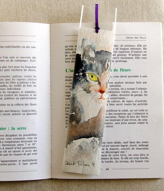 Original watercolor bookmark of a  grey cat - bookmark original painting of a grey cat - hand made bookmark - gift idea