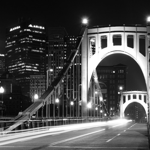 The 6th Street Roberto Clemente Bridge over the Allegheny River behind PNC Park
