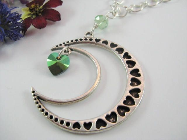 Gothic Crescent Moon Necklace, Statement Necklace, Moon and Heart Pendant Necklace, Valentine Gift by Wireandcolour on Etsy