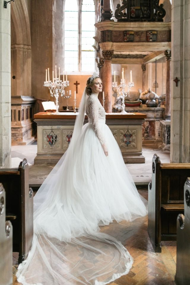 cathedral wedding with a regal wedding gown