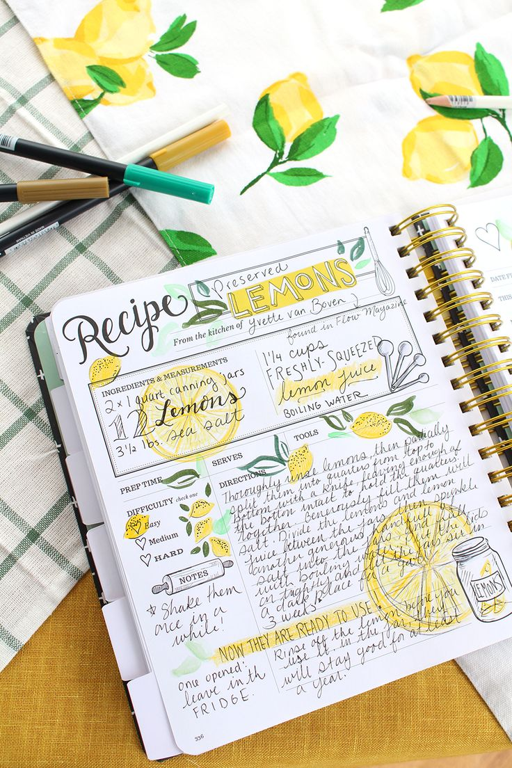 A Keepsake Kitchen Diary recipe spread by Valerie McKeehan - preserved lemons. The Kitchen Diary is a DIY cookbook with room to write memories.