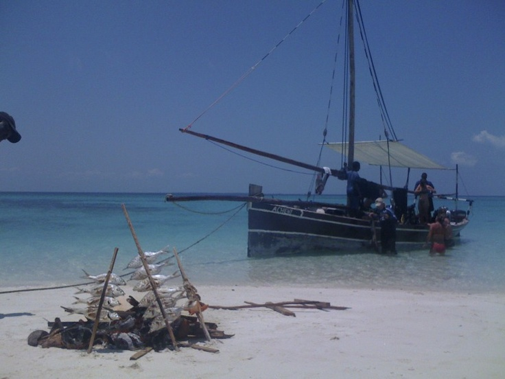 Mafia Island, Tanzania.  We went out scuba diving... the surface interval was on this beautiful white sand bank where we enjoyed a picnic.