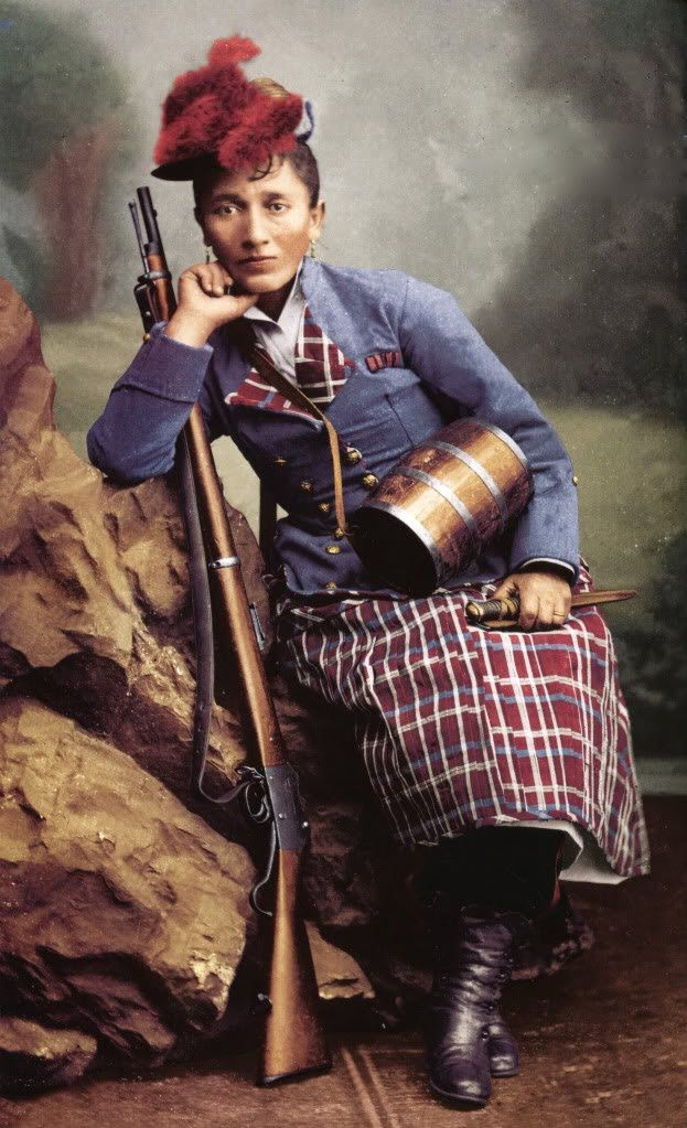 Chilean Cantiniere Irene Morales Infante .This tinted photo shows her in feathered cap and plaid skirt with plaid facings.