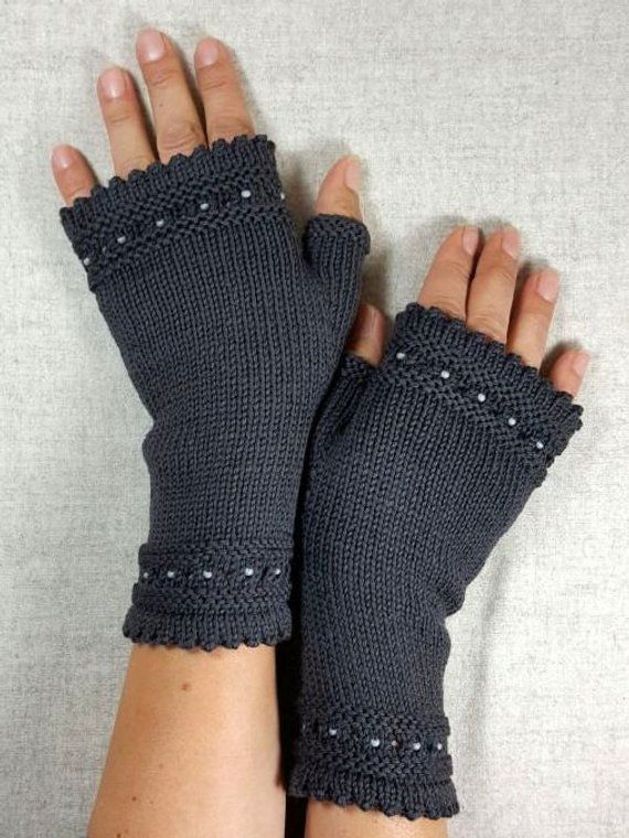 Fair Fashion Fingerless Gloves with beads, knitted mittens gray, gift to co-worker, handmade knitwear, eco-friendly gloves grey