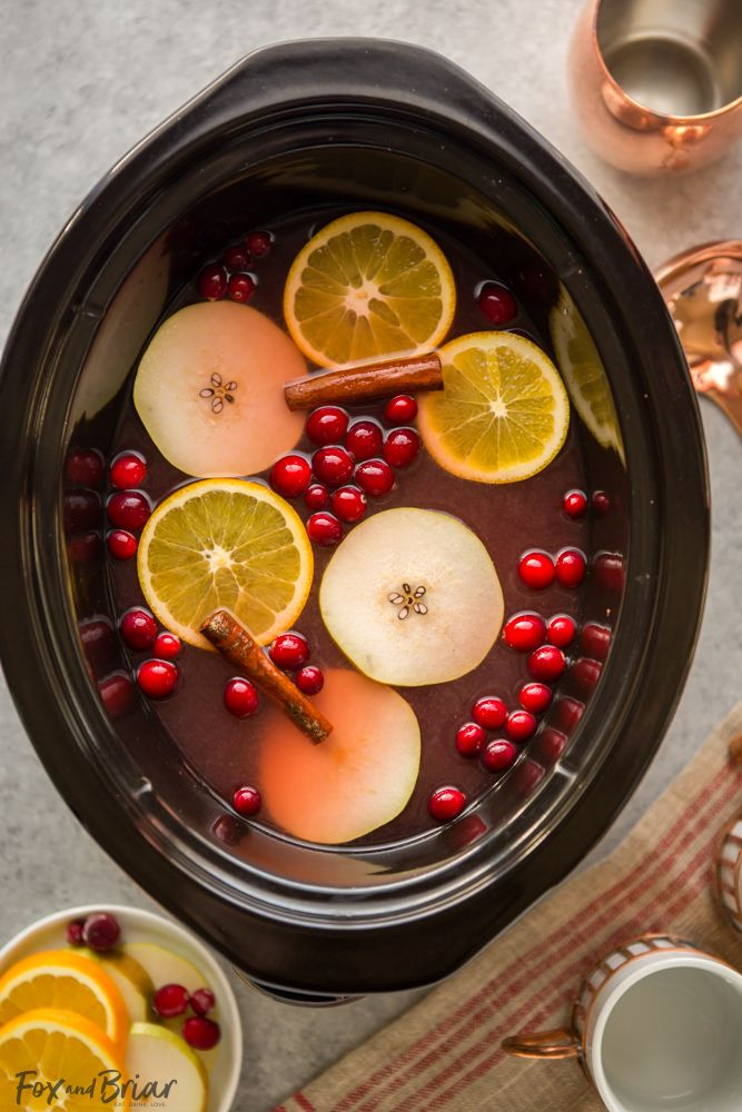 Crockpot Cranberry Pear Cider (From Scratch!) - Fox and Briar