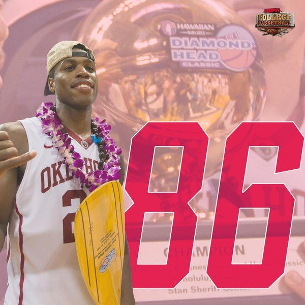 Buddy Hield named MVP of Diamond Head Classic. Scored a tournament record high 86 points, unseating old record set by Klay Thompson.